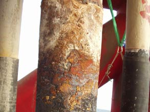 Damaged rubber cladding on offshore riser