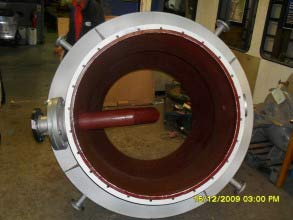 Second coat of Belzona 1392 (Ceramic HT2) in red